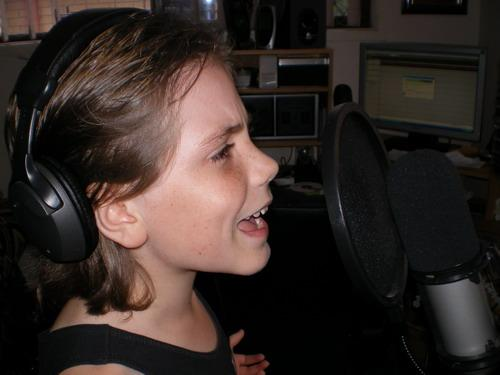 Jordan singing in studio