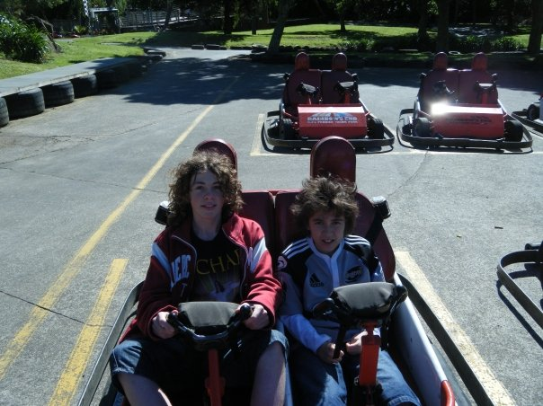 Liam and Sam in go cart