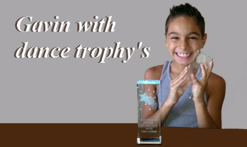 Gavin with Dance Trophys
